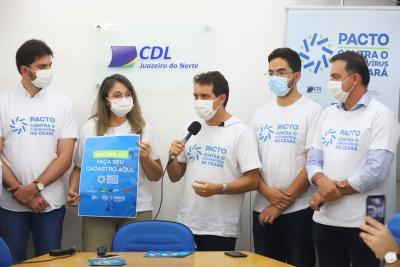 Comitiva do Pacto contra o Coronavírus visita Cariri para instalação de pontos de Cadastro Solidário na CDL e IDT